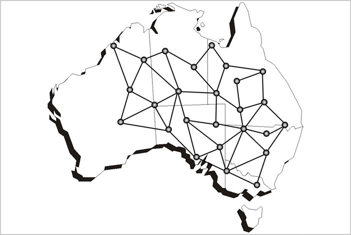 Map of Australia with an abstract pattern
