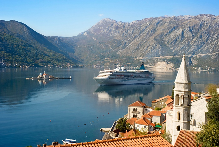 A cruise ship in the Norwegian fjords